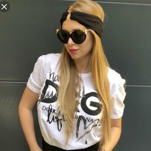 Dolce & Gabbana Cat Eye Sunglasses W/ Gold Detail